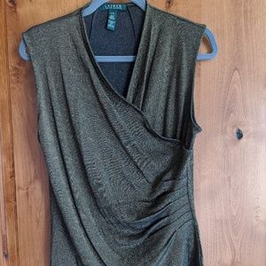 Ralph Lauren Metallic sleeveless faux wrap top